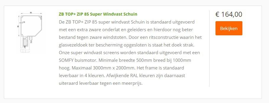 goedkope zip screen prijs